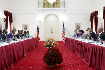 Kenya's President Uhuru Kenyatta and U.S. President Barack Obama participate in a bilateral meeting at the State House in Nairobi