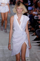 A model presents a creation from the Alexander Wang Spring/Summer 2017 collection at New York Fashion Week in Manhattan, New York, U.S.