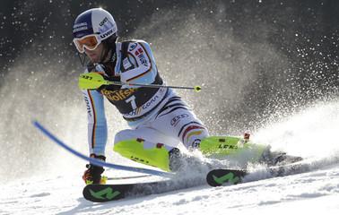 Germany's Dopfer clears pole during men's slalom at World Cup in Kranjska Gora