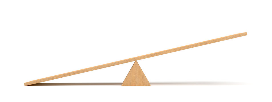 3d rendering of a light wooden seesaw with the left side leaning to the ground on white background.
