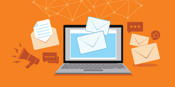 email and message technology with laptop illustration