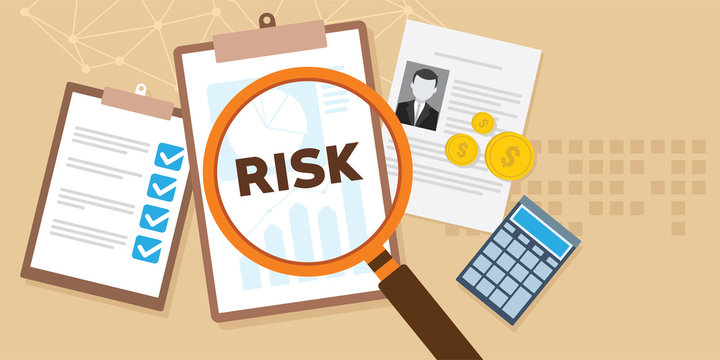 risk analysis with magnifying glass and documents illustration