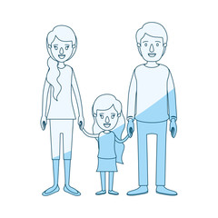 blue silhouette shading caricature family with young father and mom with side ponytail hair with little girl taken hands vector illustration
