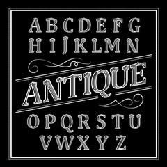 Alphabet antique Letters Vintage Set Western Vector