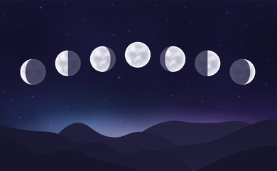 Lunar cycle in the night sky with stars. Landscape. Vector illustration.