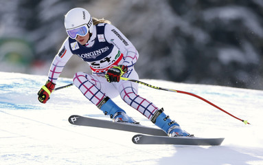 Klara Krizova of Czech Republic skis during the women's super combined Downhill race at the World Alpine Skiing Championships in Schladming