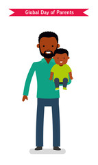 Global Day of Parents or Happy Father's Day celebration. Dad and son. African Americans people. Flat vector illustration.