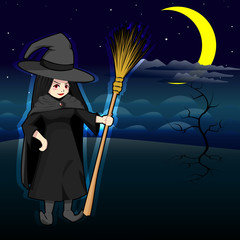 vector illustration of Halloween witch