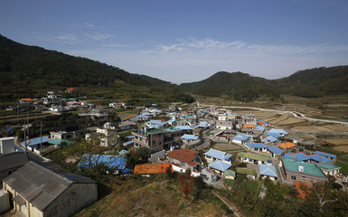 General veiw of Nongso village where 18 fisherman were abducted by North Korea in 1972, is seen in Geoje