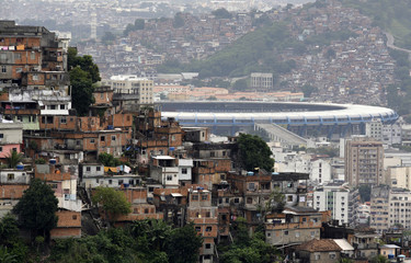 The Maracana stadium is seen between Turano slum and Mangueira slum in Rio de Janeiro