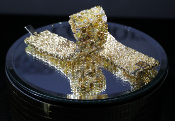 Gold jewellery is pictured on a stand at Valenza international jewels exposition in Valenza