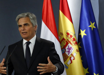 Austrian Chancellor Faymann speaks during a joint news conference with Spanish PM Rajoy at Madrid's Moncloa Palace