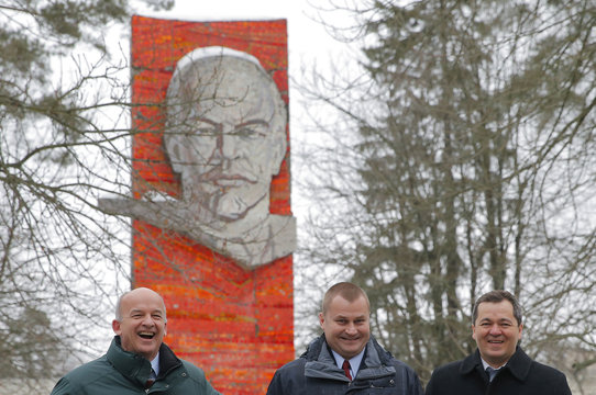 ISS expedition 47/48 crew members Williams, Ovchinin and Skripochka pose during traditional farewell ceremony in Star City outside Moscow