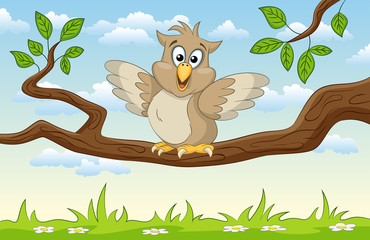 Wall Mural - Illustration of an cartoon owl on a branch