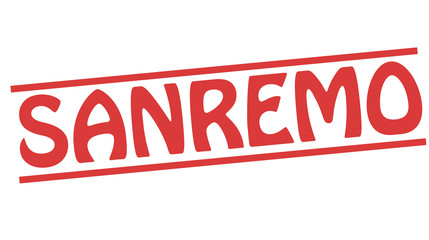 Sanremo red stamp text on white