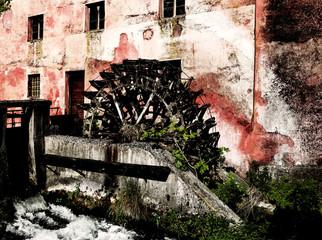 Fotorolgordijn Molens Old water mill and a little river
