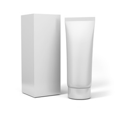 Realistic rendering of blank white cosmetics tubes and box packaging isolated on white background. 3D Illustration.