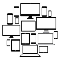 Set of realistic computer monitor, laptop, tablets and mobile phone. Electronic gadgets