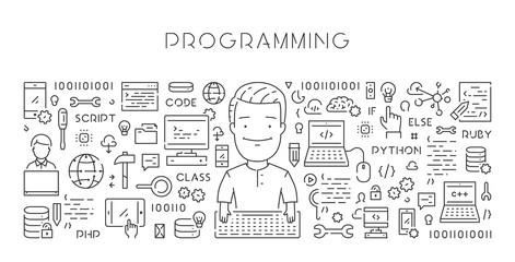 Vector line web banner for programming