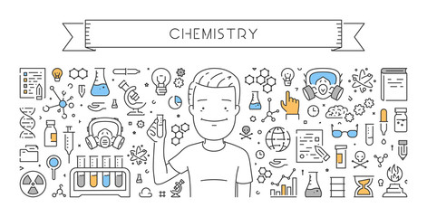 Vector line web banner for chemistry
