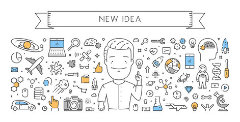 Line web banner for new idea