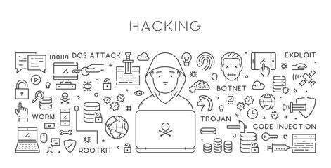 Vector line web banner for hacking