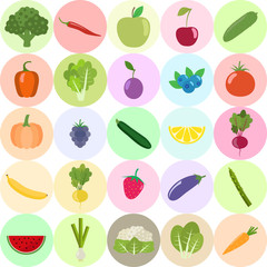 Set of fresh healthy vegetables, fruits and berries isolated. Flat design. Organic farm illustration. Healthy lifestyle vector design elements.