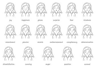 Big set of vector emotions girl