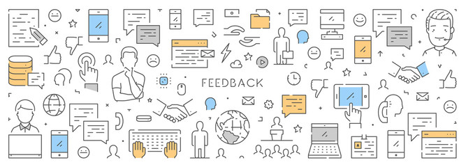 Line web banner for feedback and support