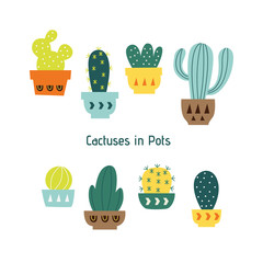 Set of Hand Drawn Cactuses and Succulents in Pots / Cactus Isolated on White Background