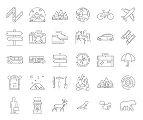 Big line icons set for camping and hiking