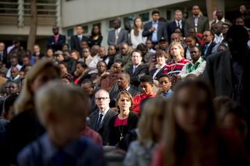 U.S. Embassy employees in Nairobi listen as Secretary of State John Kerry speaks to them, Monday in Nairobi