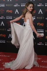 Actress Abascal poses on the red carpet before the Spanish Film Academy's Goya Awards ceremony in Madrid