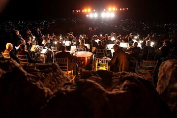 The Johann Strauss Orchestra performs at the Amman Citadel, an ancient Roman landmark