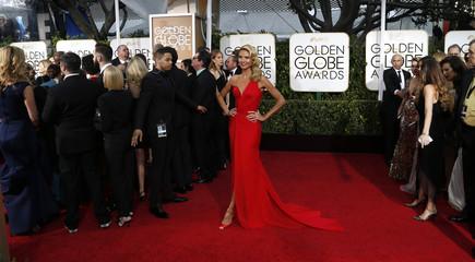 Model Heidi Klum arrives at the 72nd Golden Globe Awards in Beverly Hills