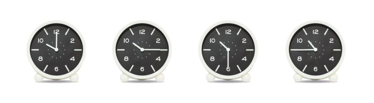 Closeup group of black and white clock with shadow for decorate show the time in 10 , 10:15 , 10:30 , 10:45 a.m. isolated on white background , beautiful 4 clock picture in different time