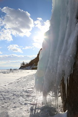 Baikal lake, winter time, ice blocks sculpture, snowy and icy beautiful and picturesque landscape, Russia, travel and exploration nature miracles