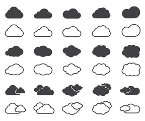 cloud icons set in black and thin vector design