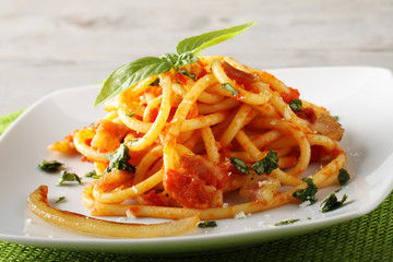 Bucatini Amatriciana, with parmesan cheese, tomato and bacon