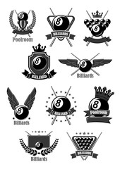 Vector icons for billiards or poolroom sport game