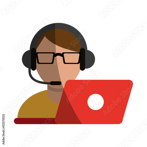 quotperson with headset and laptop ecommerce or customer
