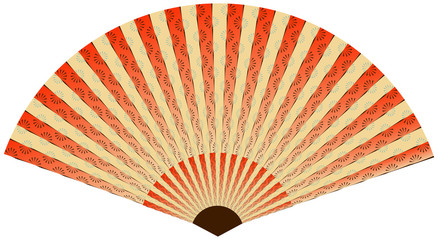 asian fan with linear flower pattern in red shades
