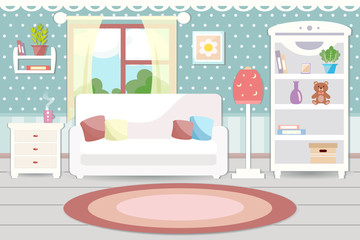 Living room interior with furniture. Flat design.