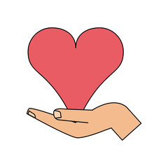color image hand holding a heart vector illustration