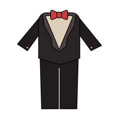 color image wedding suit male with bowtie vector illustration