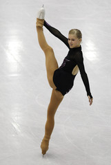 Grm of Slovenia performs during the women's free skating preliminary round at the ISU World Figure Skating Championships in Nice