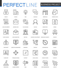 Business project thin line web icons set. Strategy management Outline stroke icon design.