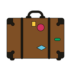 color image travel briefcase with handle vector illustration