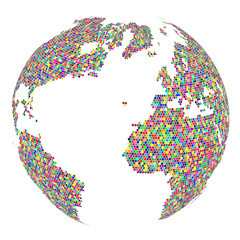 Mosaic Globe isolated on white background. Abstract business Icon