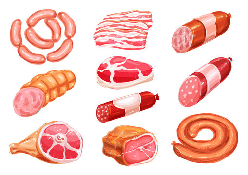 Meat product watercolor drawing set with sausage